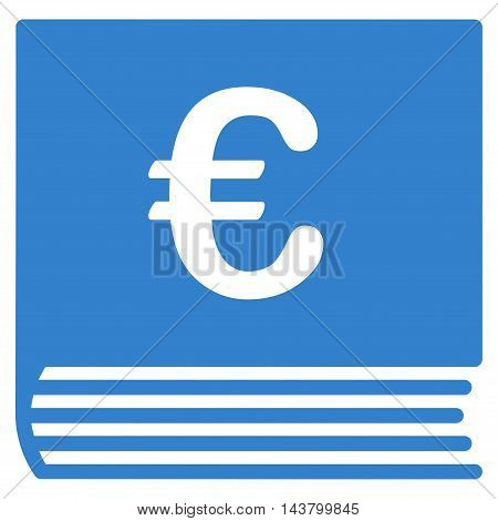 Euro Sales Book icon. Vector style is flat iconic symbol with rounded angles, cobalt color, white background.