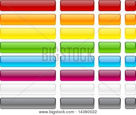 Botones rectangulares largos y cortos. Vector.