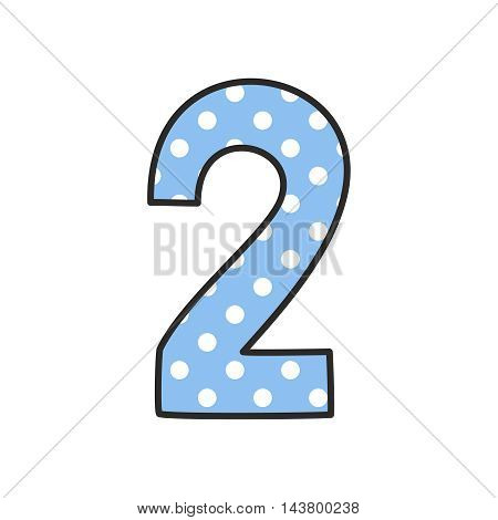 Hand drawn vector number 2 with polka dots on pastel blue isolated on white background
