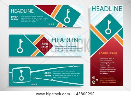 Key Icon On Horizontal And Vertical Banner.