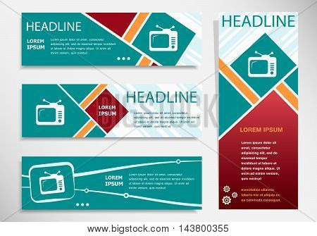 Television Icon On Horizontal And Vertical Banner