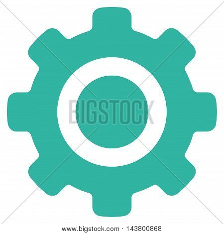 Gear icon. Vector style is flat iconic symbol with rounded angles, cyan color, white background.