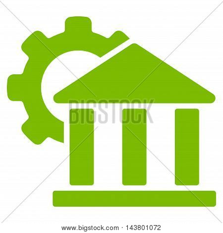 Bank Settings icon. Vector style is flat iconic symbol with rounded angles, eco green color, white background.