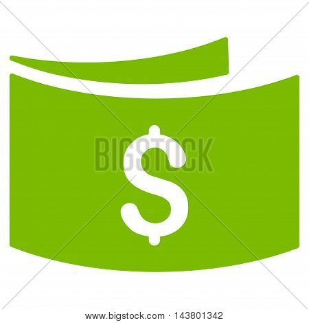 Banknotes icon. Vector style is flat iconic symbol with rounded angles, eco green color, white background.