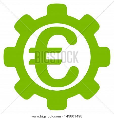 Euro Options icon. Vector style is flat iconic symbol with rounded angles, eco green color, white background.