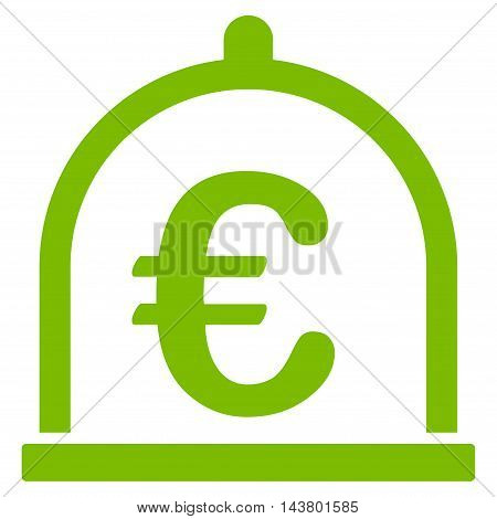Euro Storage icon. Vector style is flat iconic symbol with rounded angles, eco green color, white background.