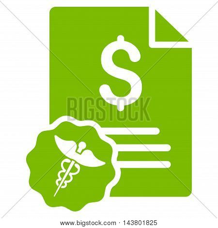 Medical Invoice icon. Vector style is flat iconic symbol with rounded angles, eco green color, white background.