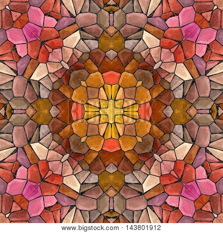 Abstract decorative multicolor (violet, gold, gray) mosaic texture - kaleidoscopic 3D pattern