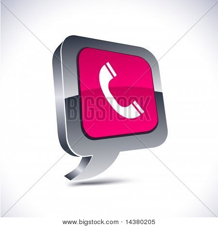 Telephone metallic 3d vibrant balloon icon.