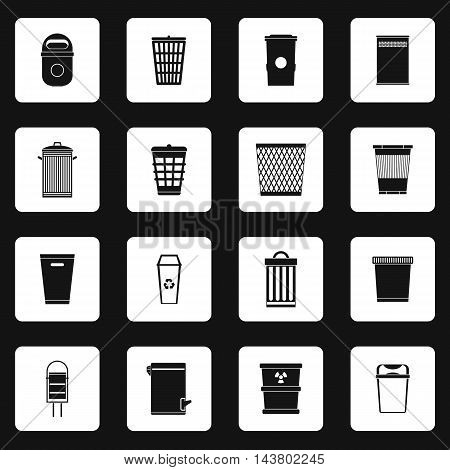 Trash can icons set in simple style. Garbage container set collection vector illustration