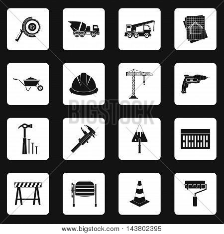 Construction icons set in simple style. Building tools set collection vector illustration