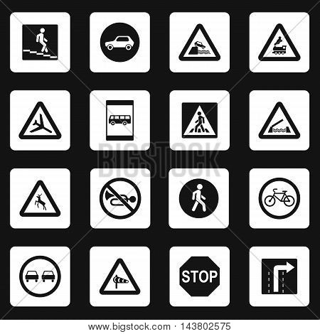 Road signs icons set in simple style. Traffic signs set collection vector illustration