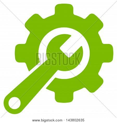 Tools icon. Vector style is flat iconic symbol with rounded angles, eco green color, white background.