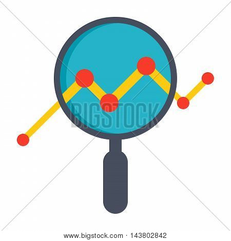 Analysis illustration with magnifying glass and line chart.