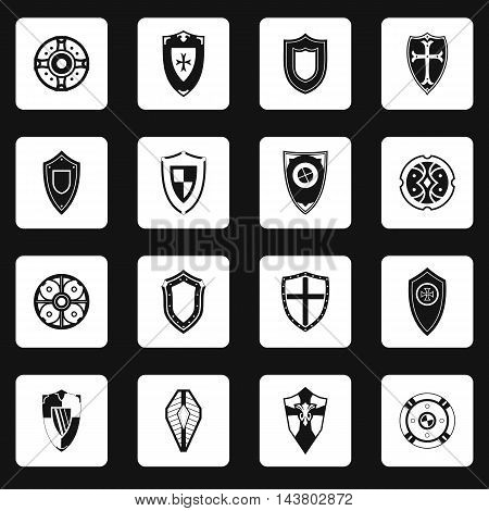 Shield icons set in simple style. Protection shield set collection vector illustration