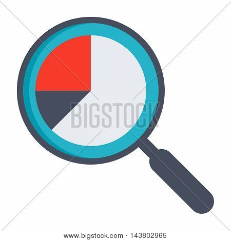 Analysis illustration with magnifying glass and pie chart.