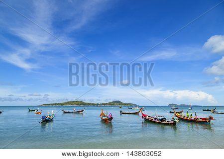 long tail boat at rawai beach phuket Thailand