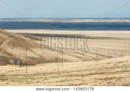 Kazakhstan. Bakanas city. Roads pass Malaysary. road, mountain,