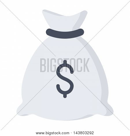 Money bag with US dollar sign in flat style.