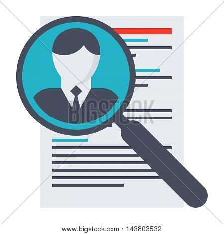 Human resource concept with document and magnifying glass.