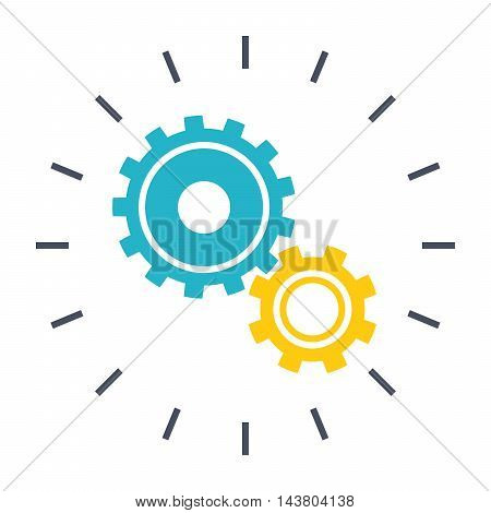 Technological Innovation concept with gear wheel in flat style.