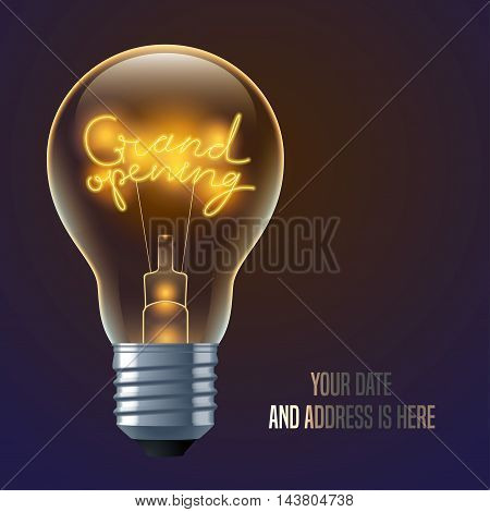Grand opening vector banner, illustration, background. Design element with electric bulb with Grand opening spiral sign