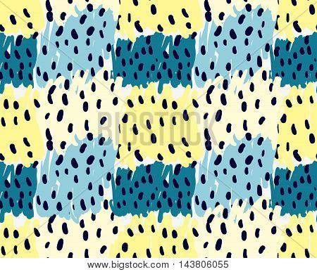 Abstract Yellow And Blue Patches With Black Dots