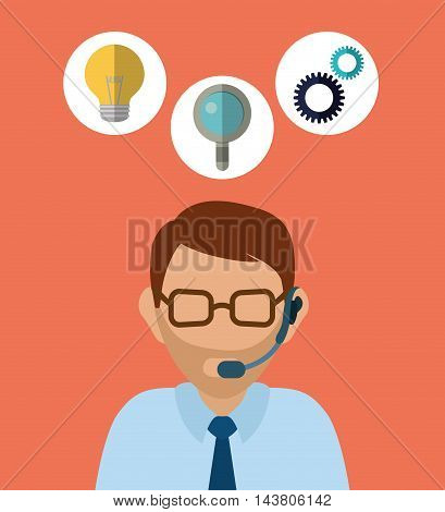 man headphone male bulb lupe gears customer service technical service call center icon set. Colorful and flat design. Vector illustration