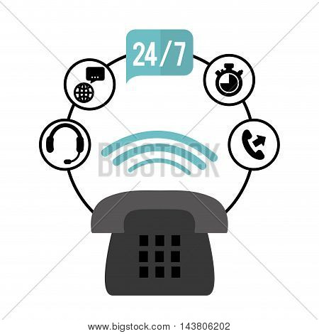 phone headphone chronometer customer service technical service call center icon set. Colorful and flat design. Vector illustration