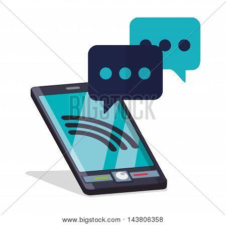 smartphone bubble customer service technical service call center icon set. Colorful and flat design. Vector illustration