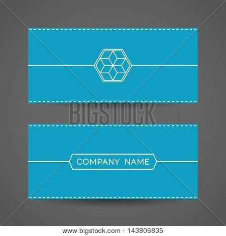 Blue envelope with hexagonal symbol. Vector template with arabic emblem