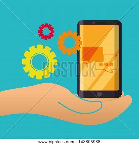 smartphone gear bubble customer service technical service call center icon set. Colorful and flat design. Vector illustration