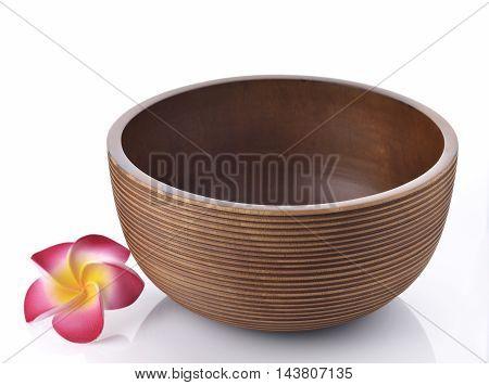 Empty Wooden Bowl on White Background Shot in Studio