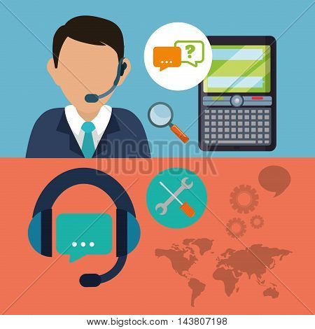 man headphone male cellphone customer service technical service call center icon set. Colorful and flat design. Vector illustration