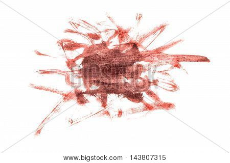 Brown paint blotch isolated over white background