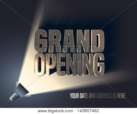 Grand opening vector illustration, background with flashlight and golden elegant lettering sign. Template banner, flyer, design element, decoration for opening event