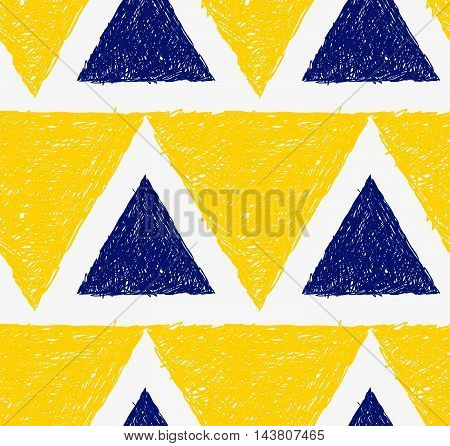 Pencil Hatched Yellow And Blue Triangles