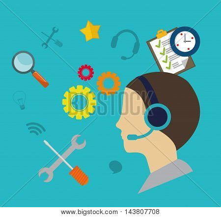 man headphone male tools gears customer service technical service call center icon set. Colorful and flat design. Vector illustration