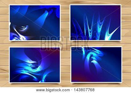 Set Of Blue Web Banners On Wooden Background