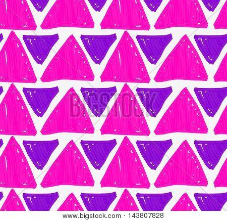 Marker Drawn Purple Big And Small Triangles