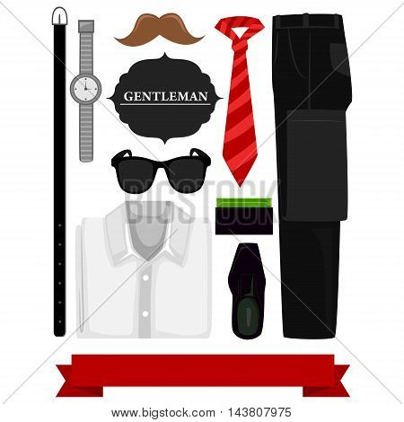Vector Illustration of a Men Accessories Elements
