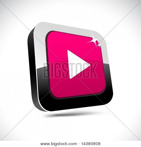 Play metallic 3d vibrant square icon.