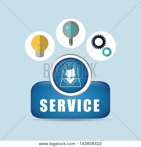 woman headphone bulb lupe gears customer service technical service call center icon set. Colorful and flat design. Vector illustration