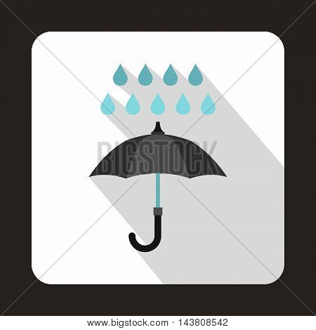 Black umbrella and rain drops icon in flat style on a white background