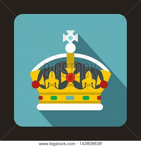 Royal crown icon in flat style on a baby blue background