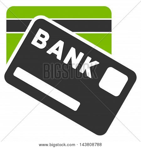Bank Cards icon. Vector style is bicolor flat iconic symbol with rounded angles, eco green and gray colors, white background.