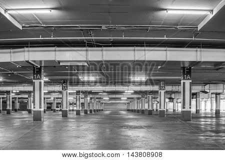Parking garage interior industrial buildingEmpty underground parking background