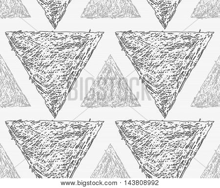 Pencil Hatched Light And Dark Gray Triangles