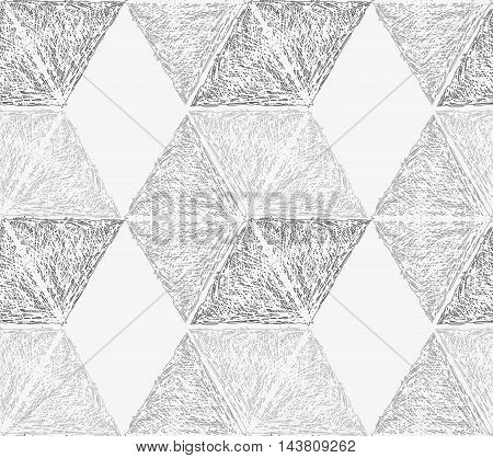 Pencil Hatched Light Gray Hexagons