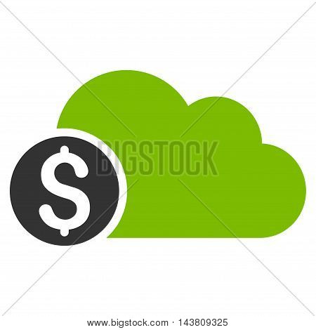 Banking Cloud icon. Vector style is bicolor flat iconic symbol with rounded angles, eco green and gray colors, white background.
